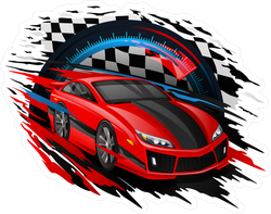 Speeding Motion Blur Race Car Sticker