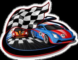 Speeding Race Cars Sticker