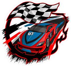Speeding Racing Car Finish Line Sticker