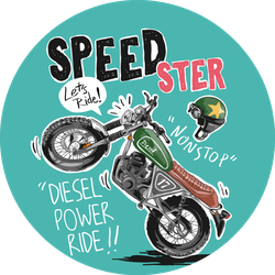 Speedster Slogan With Cartoon Motorcycle Sticker