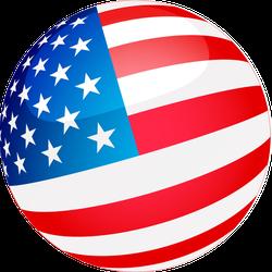 Spherical USA Flag Sticker