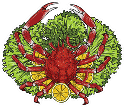 Spider Crab With Lemon And Vegetables On A Plate Sticker