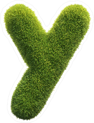 Spiky Grass Font Letter Y Sticker