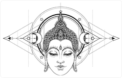 Spiritual Buddha Face Over Astronomy Sticker