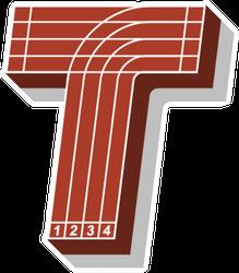 Sport Font, Letter T, Running Track Sticker