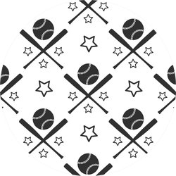 Sport Seamless Pattern Baseball Illustration Sticker