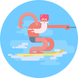 Sports Activity In Old Age Grandfather Water-ski Sticker