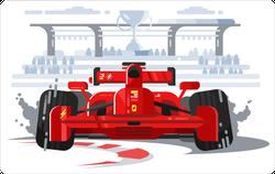 Sports Car In Race Sticker
