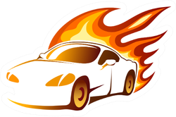Sports Car With Fiery Orange Burning Flames Sticker