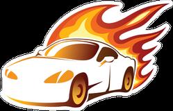 Sports Car With Fiery Orange Burning Flames Sticker