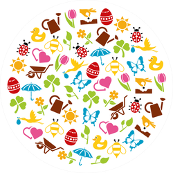 Spring Elements In A Circle Sticker