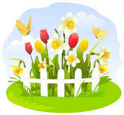 Spring Flowers In A Small Garden Sticker