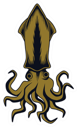 Squid Illustration Isolated In White Sticker