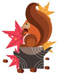 Squirrel Animal Illustration Sticker
