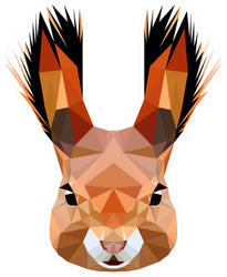 Squirrel Head With Fluffy Ears Low Poly Triangular Sticker