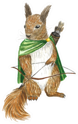 Squirrel In Cloak With Bow Illustration Sticker