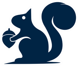 Squirrel Logo Design Navy Blue Sticker