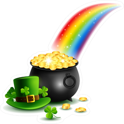 St. Patrick's Day Gold And Rainbow Sticker