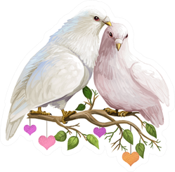 St. Valentines Day Doves Sitting On Branch With Leaves Sticker