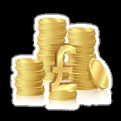 Stack of Pound Gold Coins Sticker