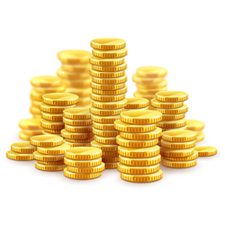 Stacks and Stacks of Gold Coins Sticker