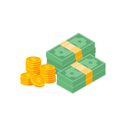 Stacks of Cash and Coins Sticker
