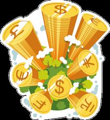Stacks of Coins World Illustration Sticker