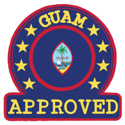 Stamp Of Approved Logo With Guam Flag Sticker