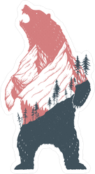 Standing Bear With A Mountain Landscape Sticker