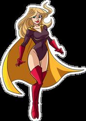Standing Female Superhero Sticker