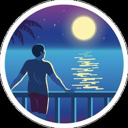 Staring at Moon Circle Sticker