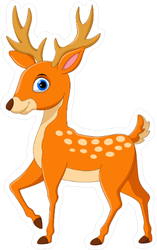 Staring Cartoon Deer Sticker