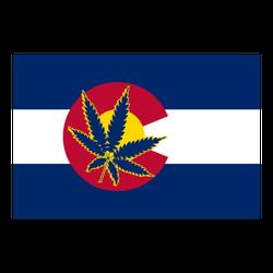 State Flag Of Colorado With Marijuana Leaf Sticker