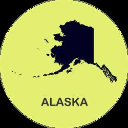 State Of Alaska Map On Bright Green Sticker