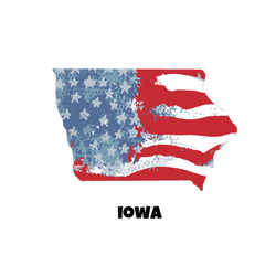 State Of Iowa Stars and Stripes sticker