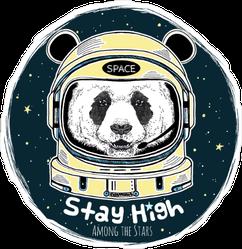 Stay High Panda Astronaut Sticker