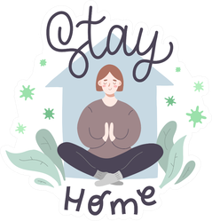 Stay Home Illustration Sticker