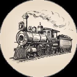 Steam Locomotive Transport Hand Drawn Illustration Sticker