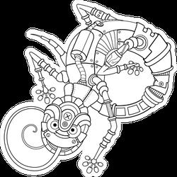 Steampunk Robot Line Art Gecko Lizard Sticker