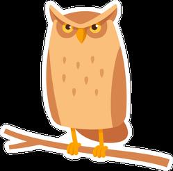 Stern Cartoon Owl Sitting On Branch Sticker