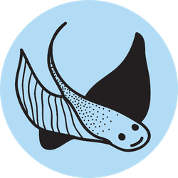 Stingray Doodle Line Icon On Blue Sticker