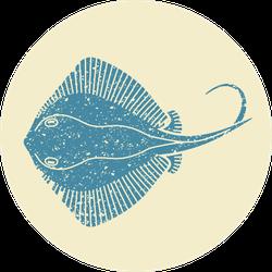 Stingray Fish In Retro Style Sticker