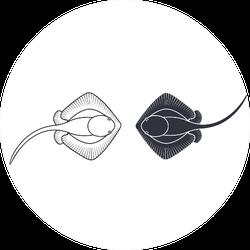 Stingray Logo Two Stingrays Sticker