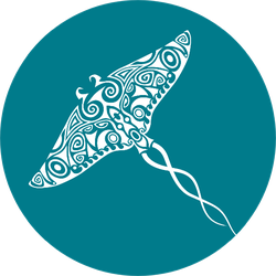 Stingray Manta Tattoo Sketch Turquoise Background Sticker
