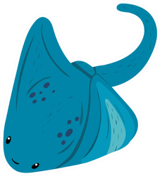 Stingray Sea Fish With A Flat Body And A Sharp Tail Sticker