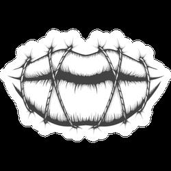 Stitched Lips Drawn In Tattoo Style Sticker