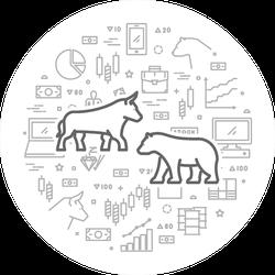 Stock Market Exchange Symbols Illustration Sticker