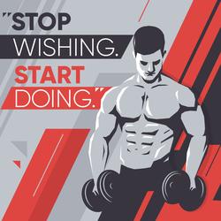 Stop Wishing Start Doing Workout Sticker