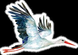 Stork. Illustration Of Watercolor Crane Bird In Flight Sticker