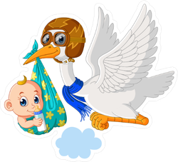 Stork with Baby Cartoon Sticker